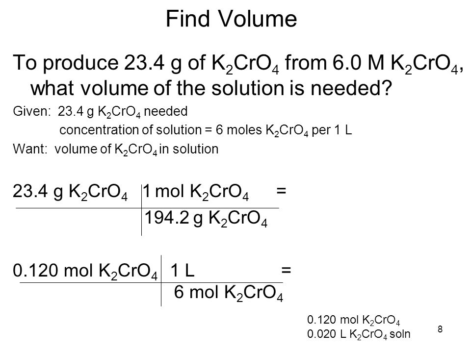 Find Volume To produce 23.4 g of K2CrO4 from 6.0 M K2CrO4, what volume of the solution is needed Given: 23.4 g K2CrO4 needed.