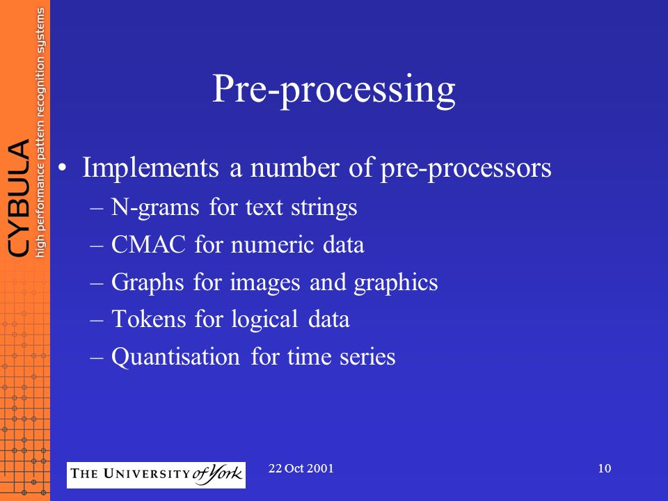 Pre-processing Implements a number of pre-processors