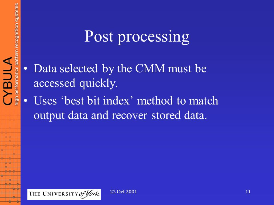 Post processing Data selected by the CMM must be accessed quickly.
