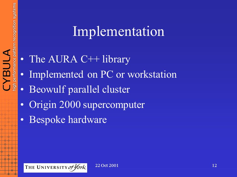 Implementation The AURA C++ library Implemented on PC or workstation