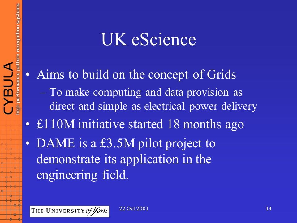 UK eScience Aims to build on the concept of Grids