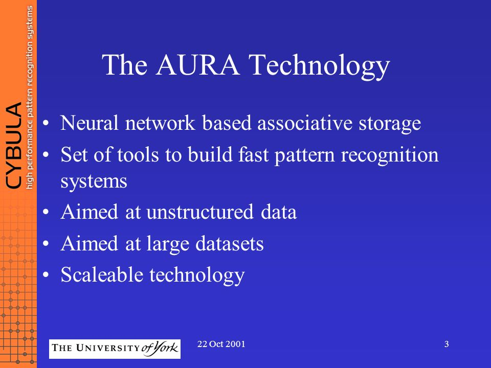 The AURA Technology Neural network based associative storage
