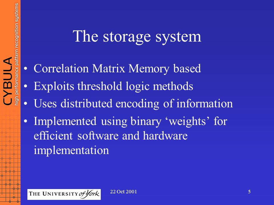 The storage system Correlation Matrix Memory based
