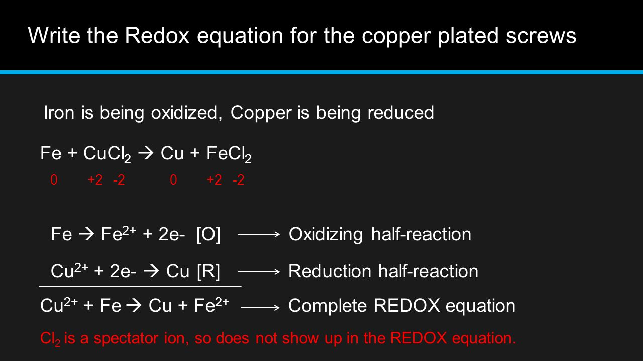 composition of penny using redox reactions