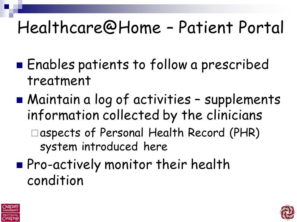 Healthcare@Home – Patient Portal