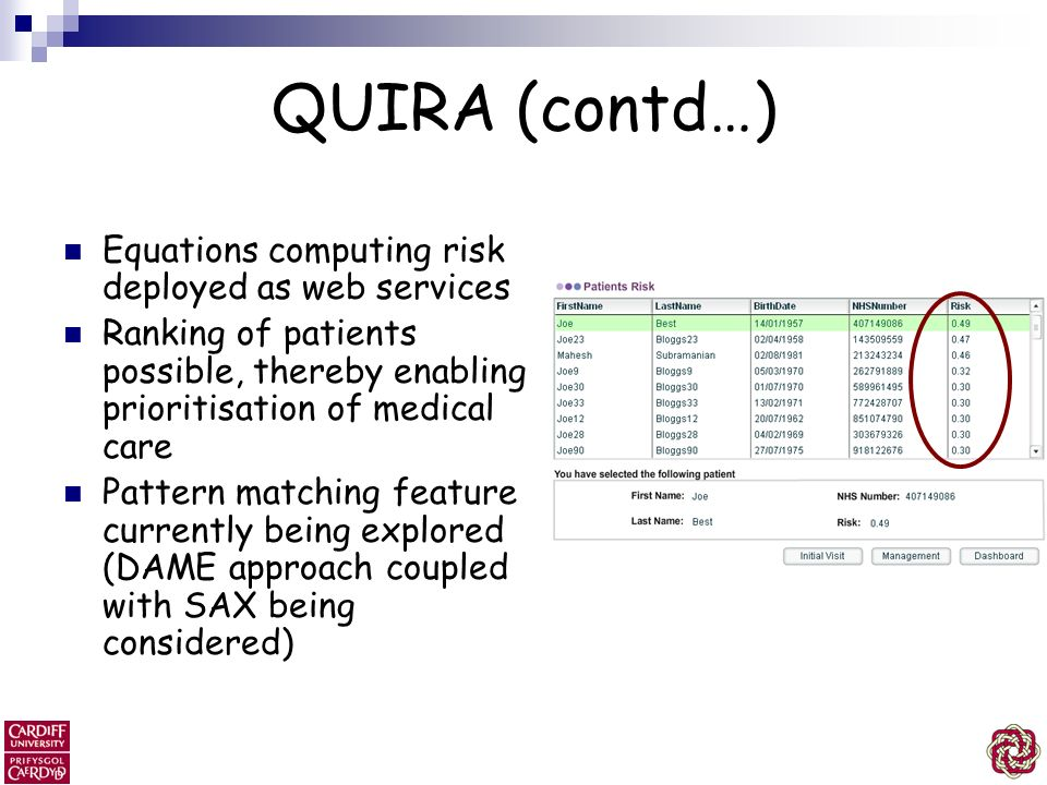 QUIRA (contd…) Equations computing risk deployed as web services
