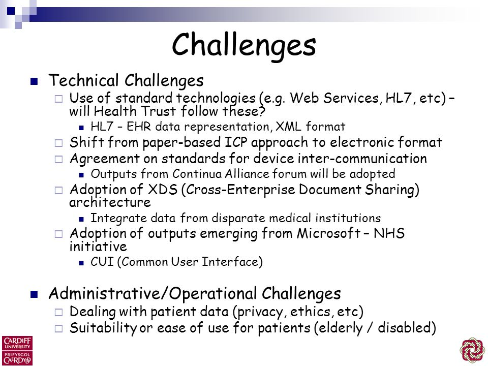 Challenges Technical Challenges Administrative/Operational Challenges
