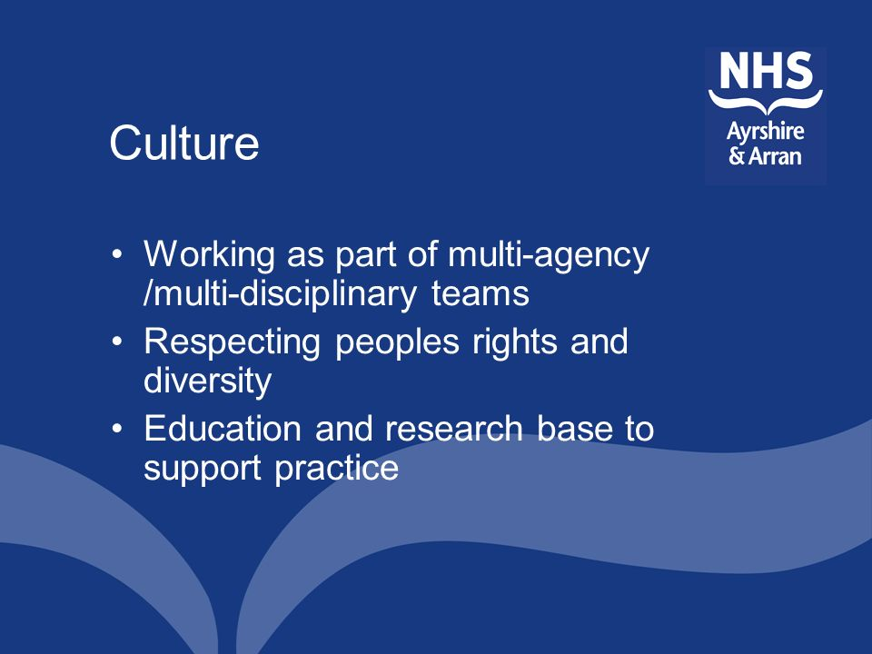 Culture Working as part of multi-agency /multi-disciplinary teams