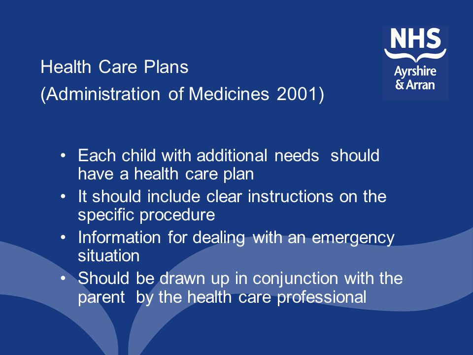 Health Care Plans (Administration of Medicines 2001)