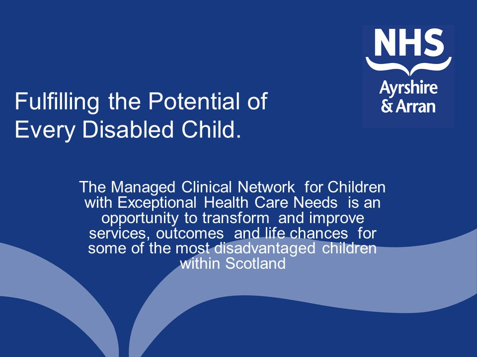Fulfilling the Potential of Every Disabled Child.