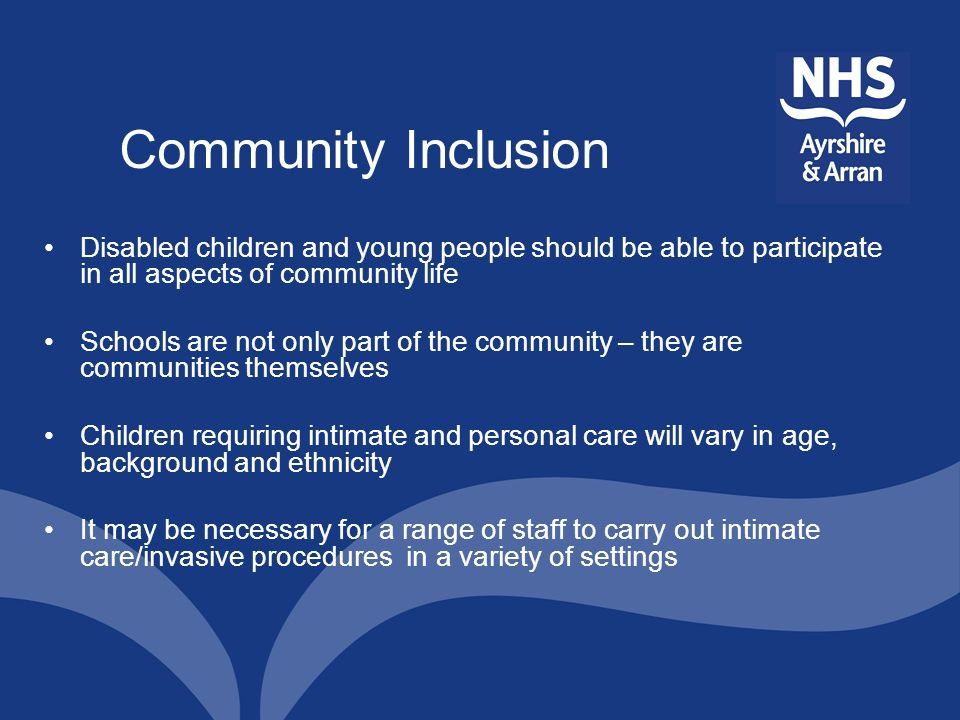 Community Inclusion Disabled children and young people should be able to participate in all aspects of community life.