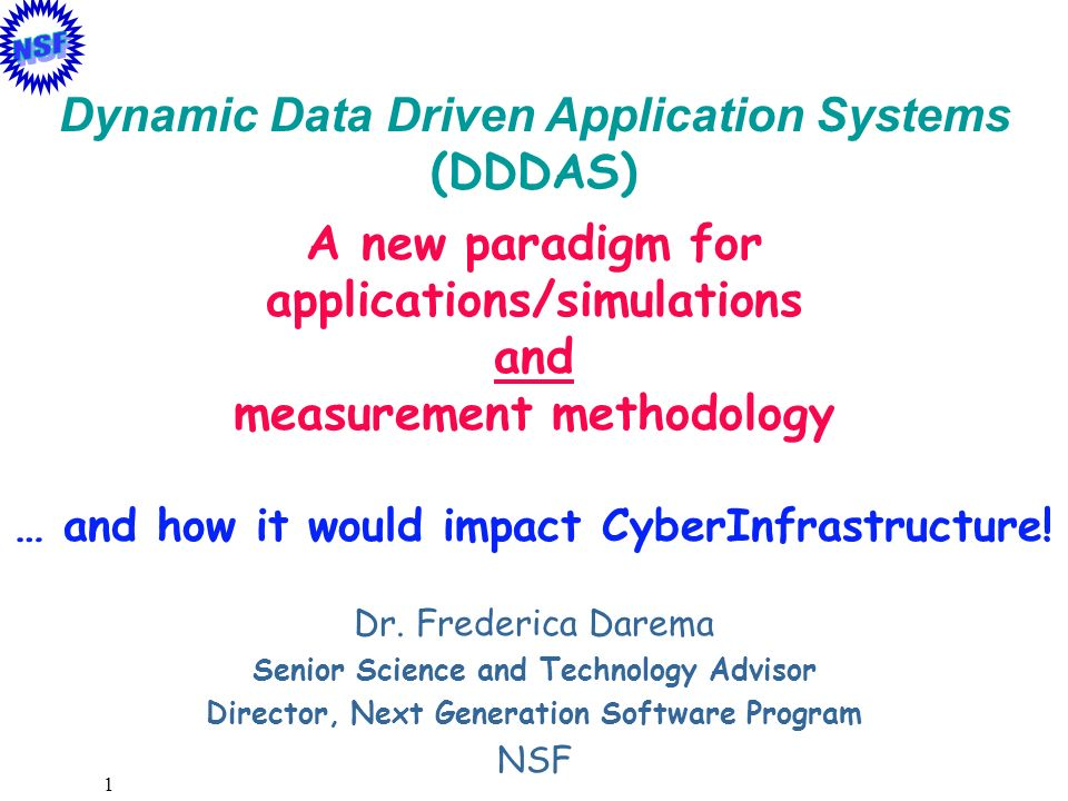 Dynamic Data Driven Application Systems (DDDAS) A new paradigm for
