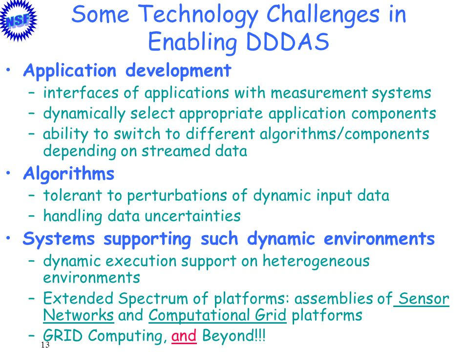 Some Technology Challenges in Enabling DDDAS