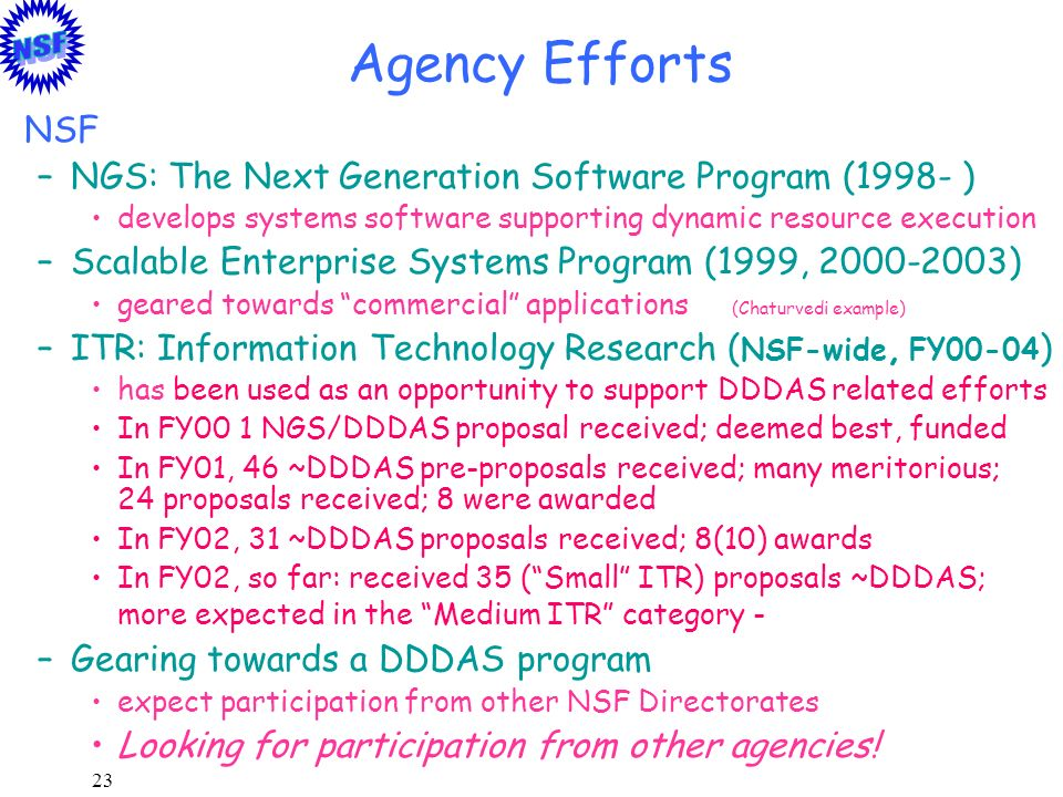 Agency Efforts NSF NGS: The Next Generation Software Program (1998- )