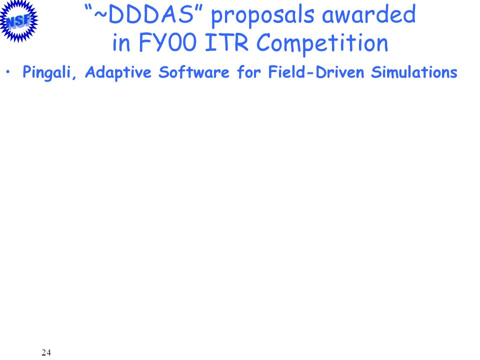 ~DDDAS proposals awarded in FY00 ITR Competition