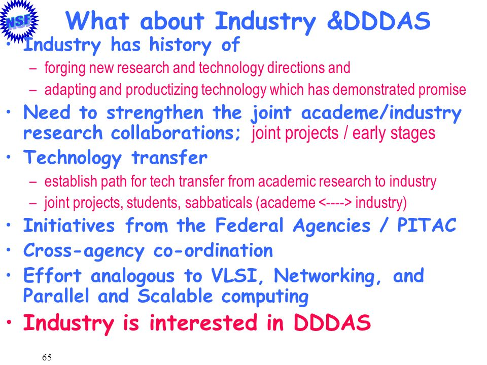 What about Industry &DDDAS