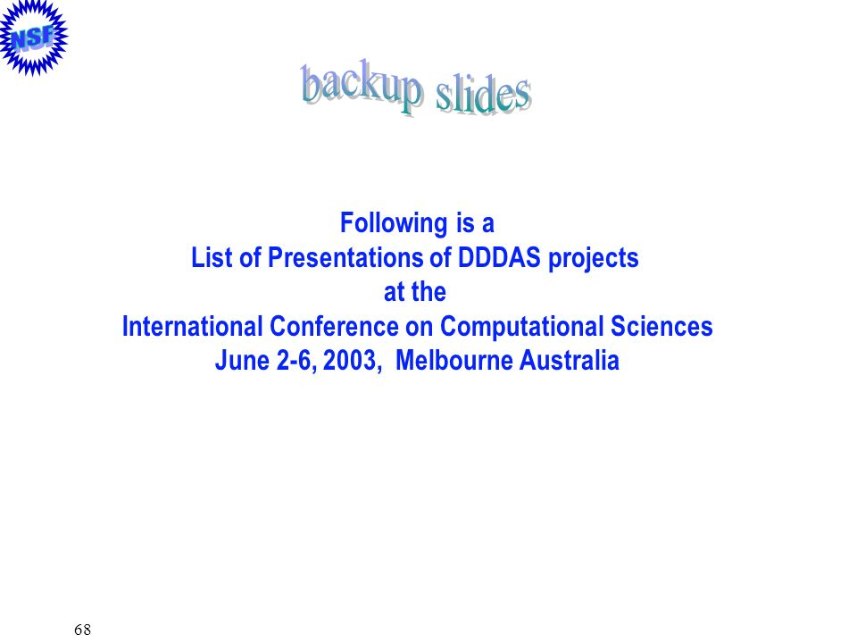 backup slides Following is a List of Presentations of DDDAS projects