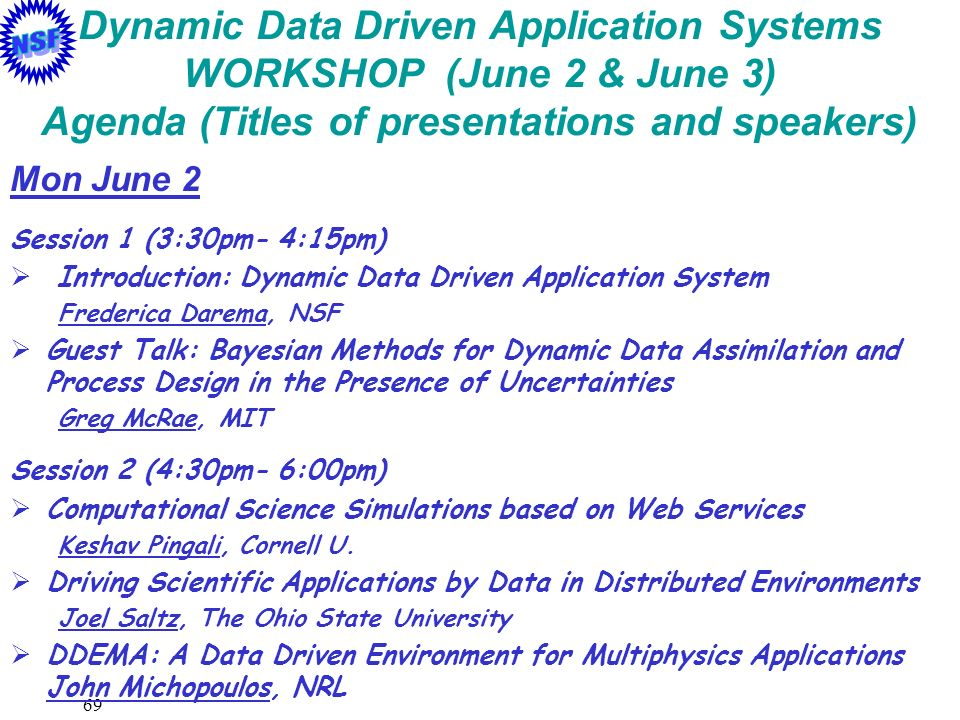 Dynamic Data Driven Application Systems WORKSHOP (June 2 & June 3) Agenda (Titles of presentations and speakers)