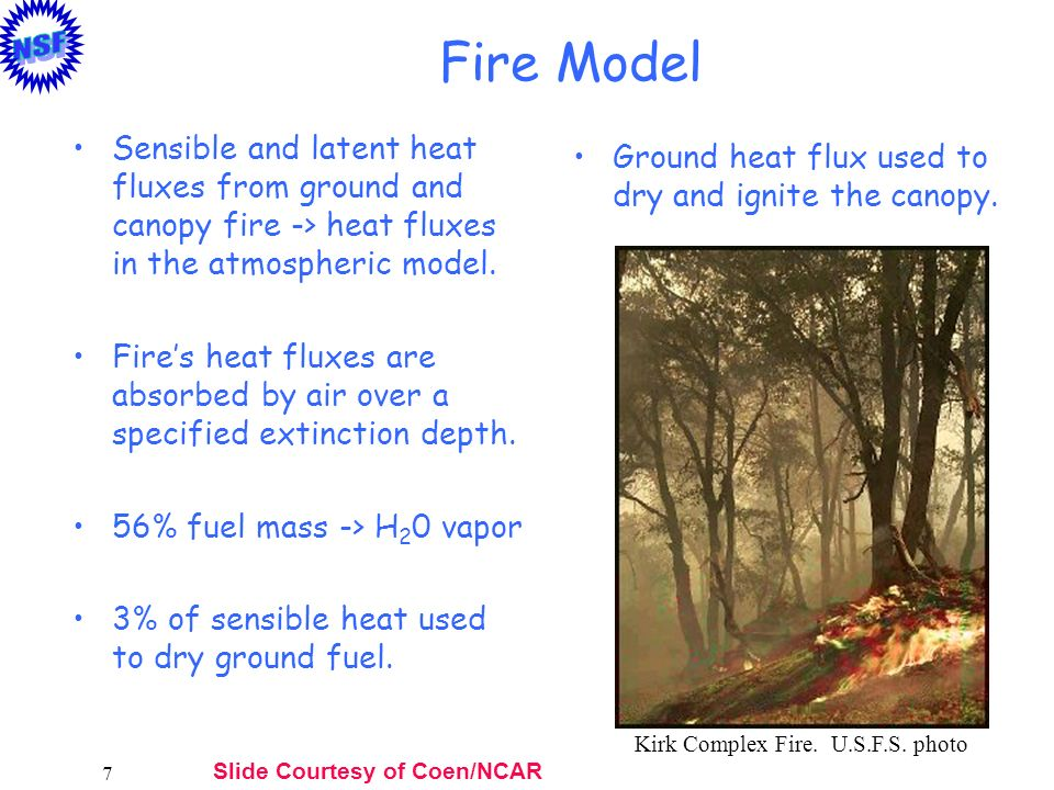 Fire Model Sensible and latent heat fluxes from ground and canopy fire -> heat fluxes in the atmospheric model.