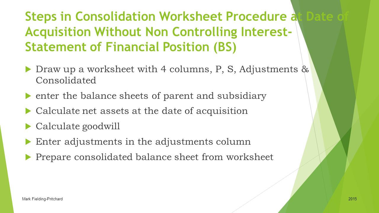 Worksheets Consolidation Worksheet reporting entity consolidation principles ifrs 10 11 acca f7 steps in worksheet procedure at date of acquisition without non controlling interest statement of