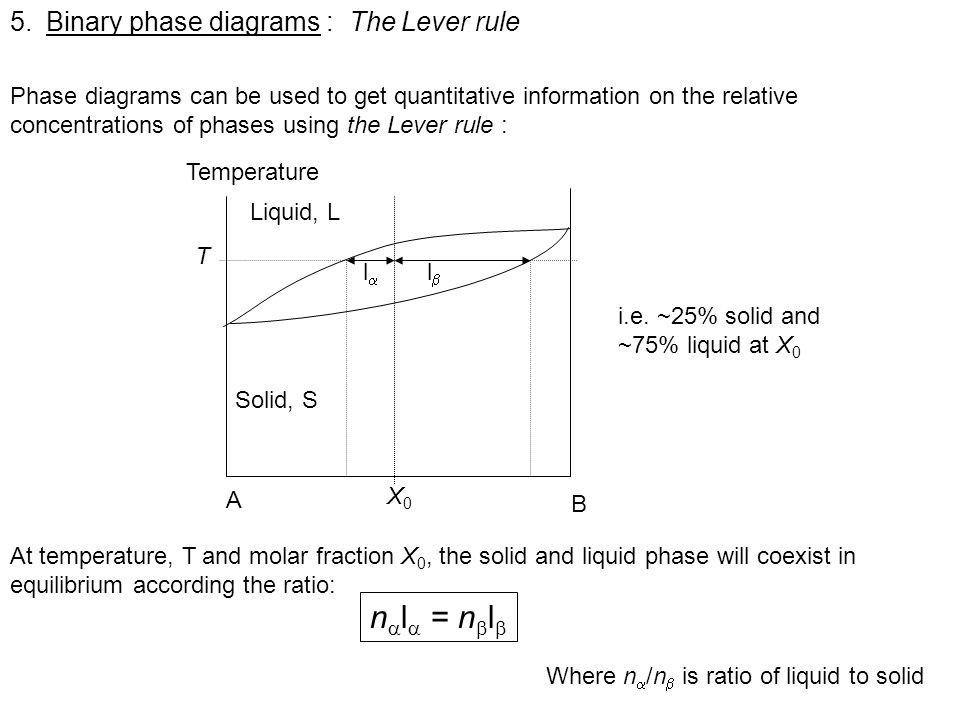 nl = nl Binary phase diagrams : The Lever rule