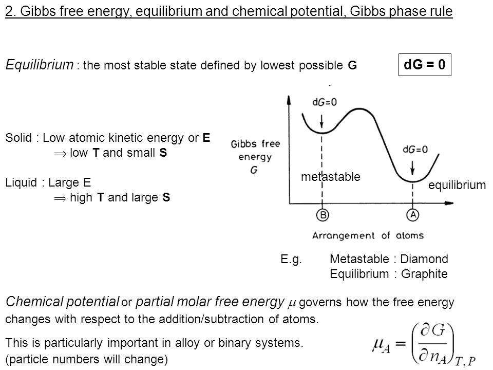 Equilibrium : the most stable state defined by lowest possible G