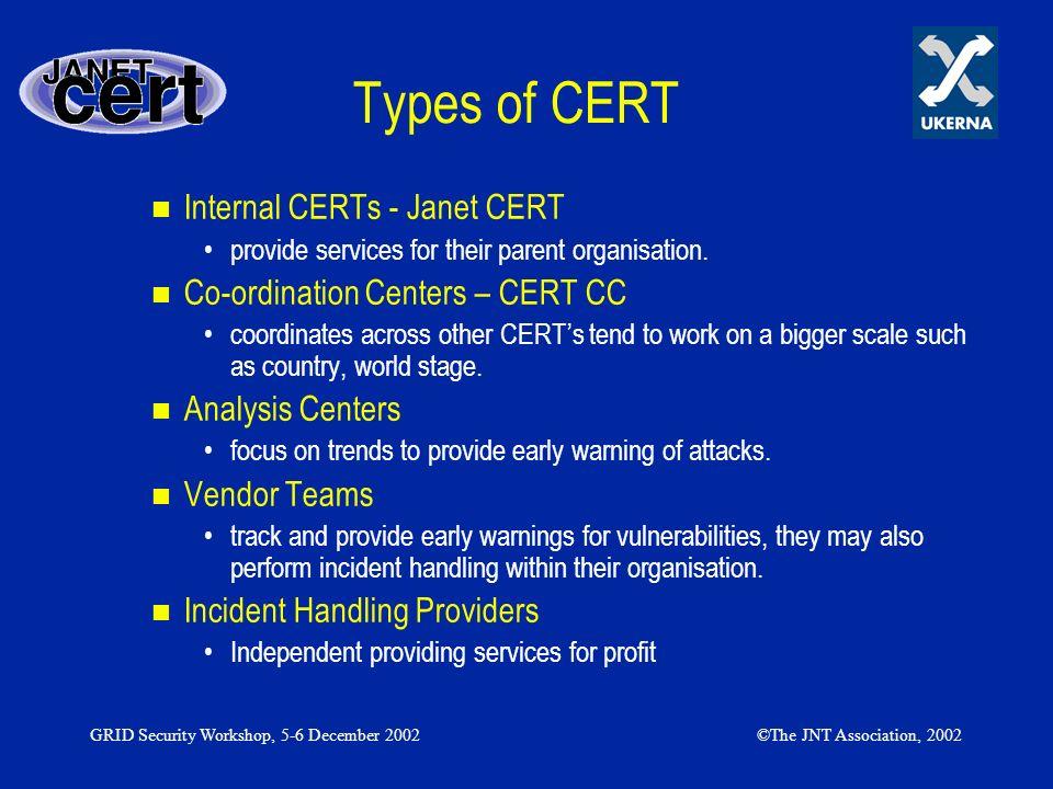 Types of CERT Internal CERTs - Janet CERT