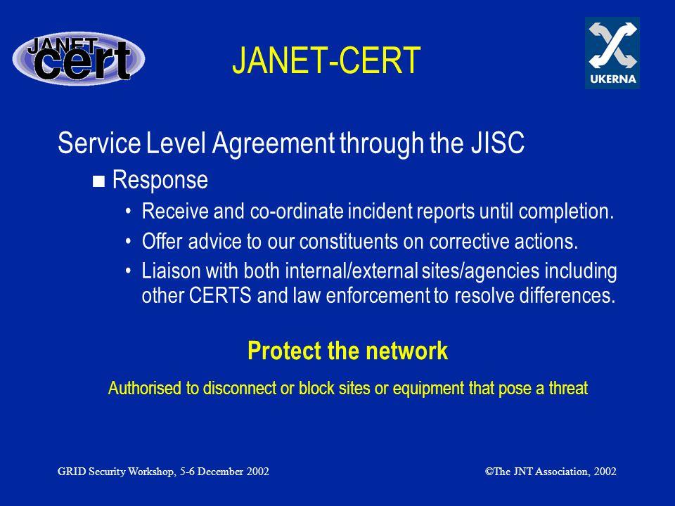 JANET-CERT Service Level Agreement through the JISC Response