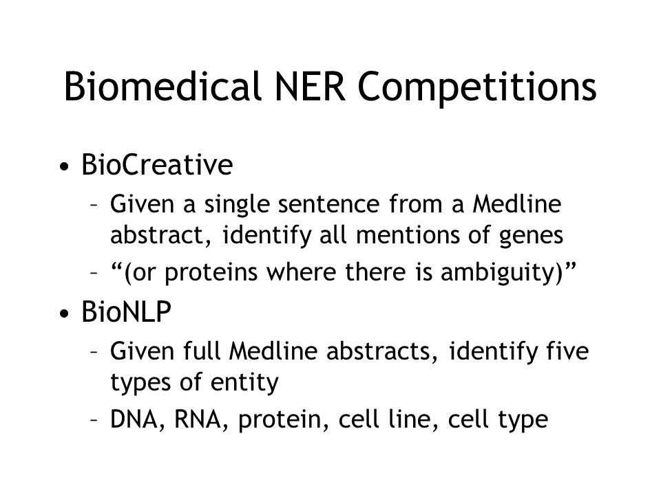 Biomedical NER Competitions