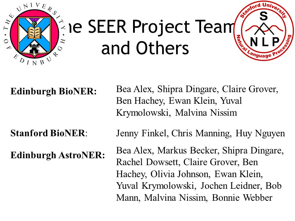 The SEER Project Team and Others