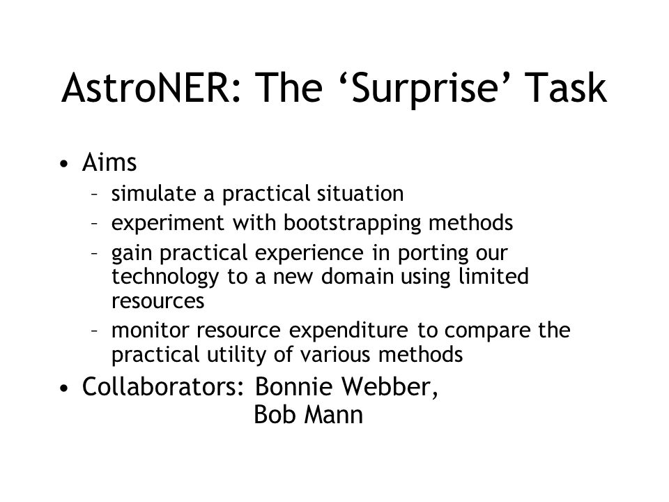 AstroNER: The 'Surprise' Task
