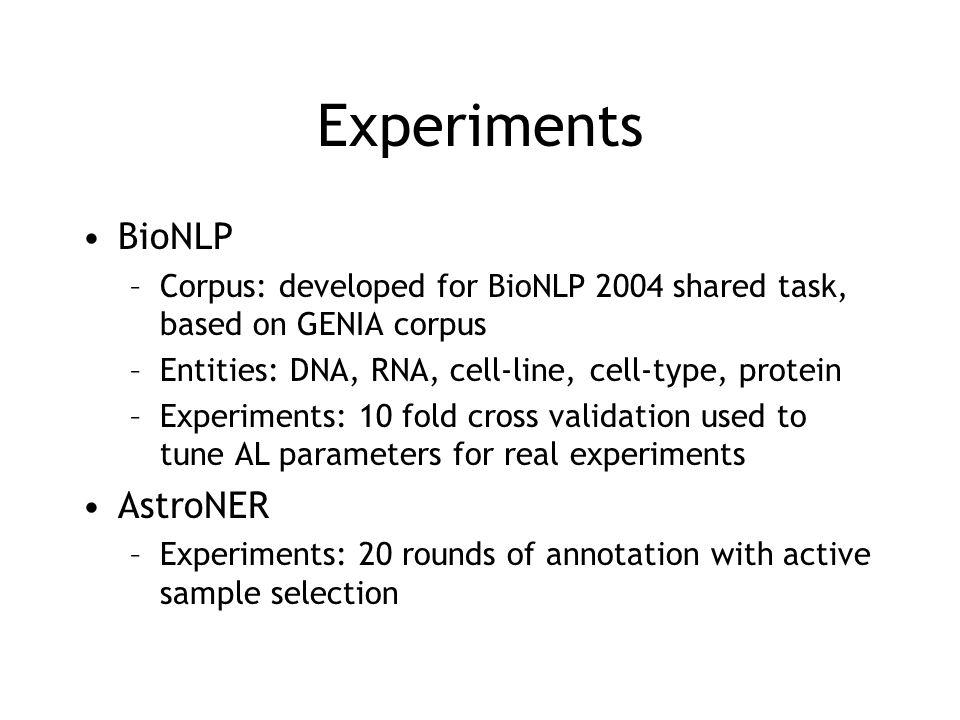 Experiments BioNLP AstroNER