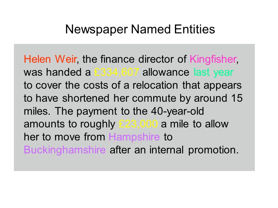 Newspaper Named Entities