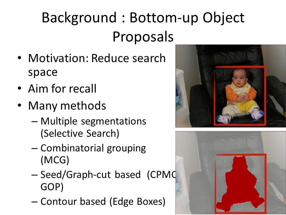 Background : Bottom-up Object Proposals