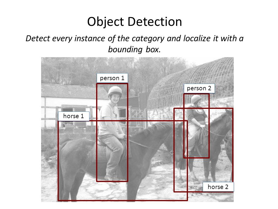 Object Detection Detect every instance of the category and localize it with a bounding box. person 1.