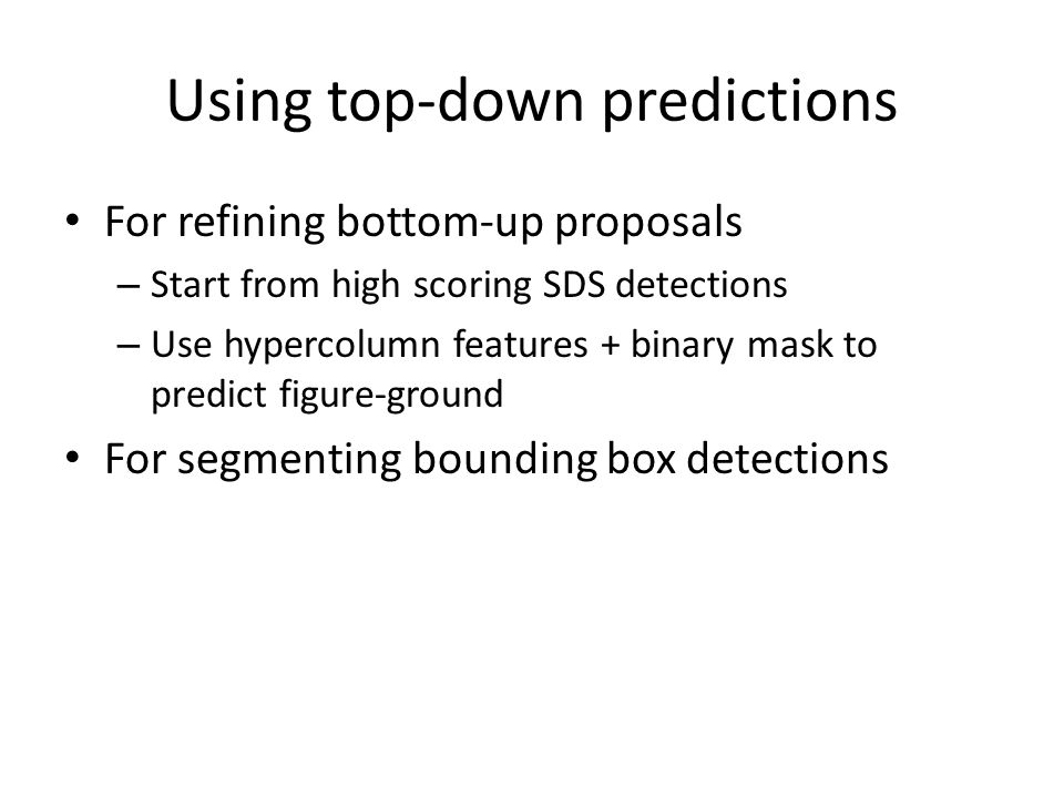 Using top-down predictions