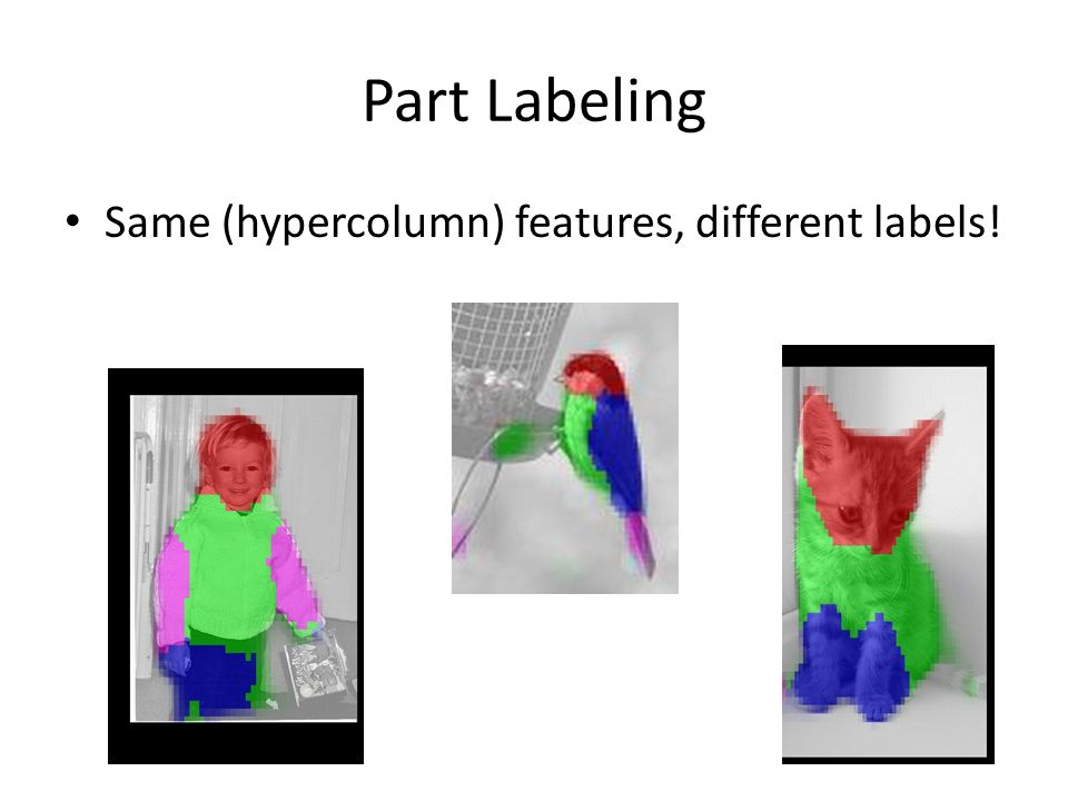 Part Labeling Same (hypercolumn) features, different labels!