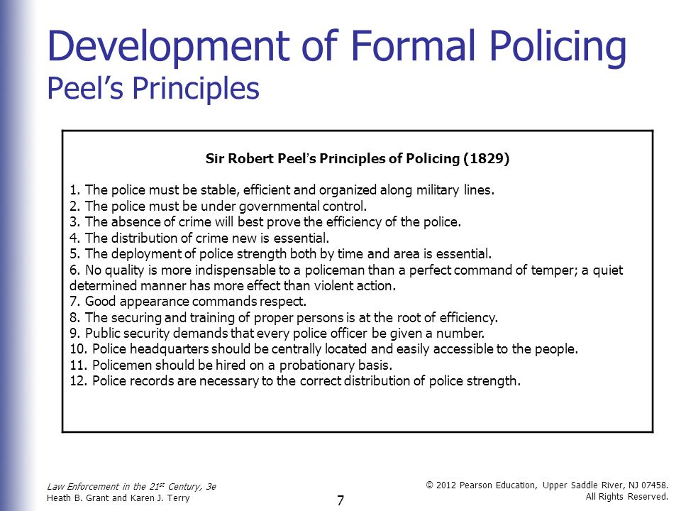 The police and peels principles of 1829