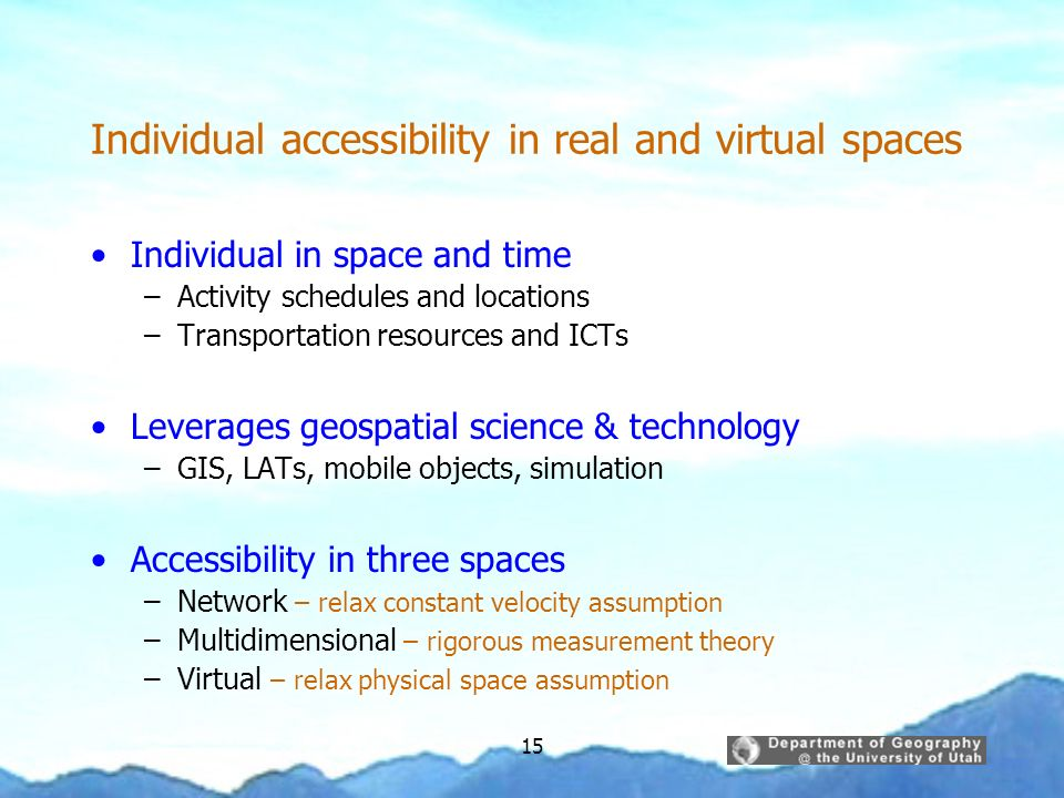 Individual accessibility in real and virtual spaces