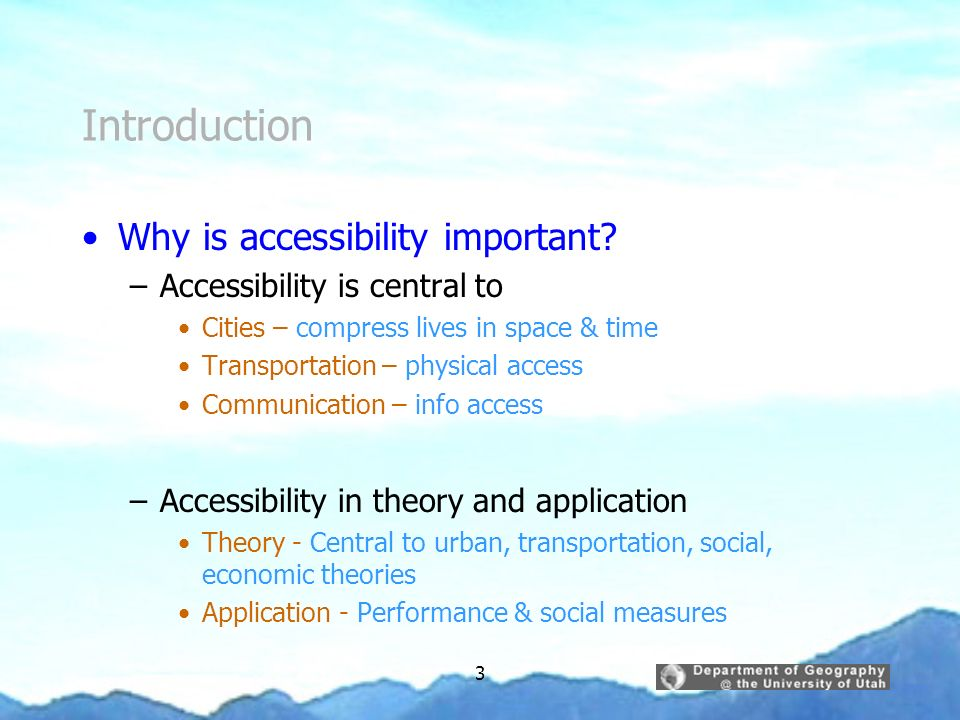 Introduction Why is accessibility important