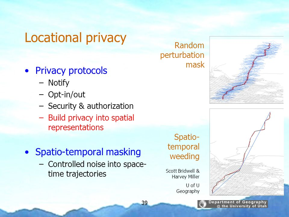 Locational privacy Privacy protocols Spatio-temporal masking