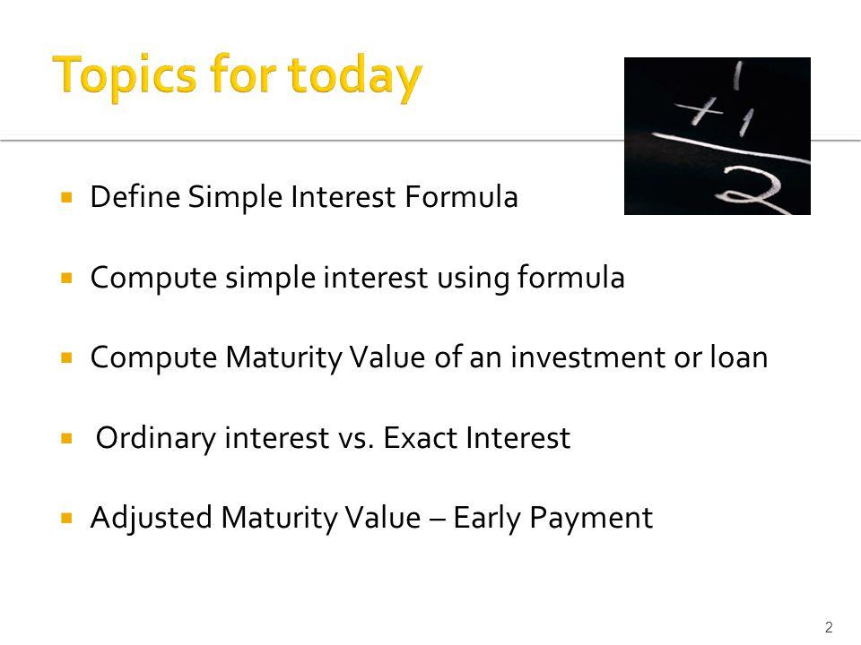 unit seminar simple interest ppt video online  2 topics