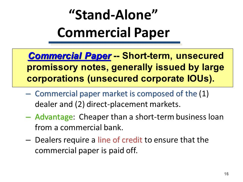 commercial paper short term loan Commercial paper: meaning, features, advantages and disadvantages  it is an unsecured short-term instrument issued by a company for financing of accounts.