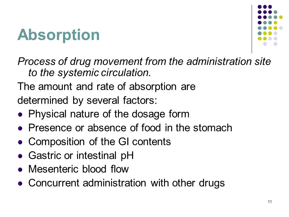 Absorption Process of drug movement from the administration site to the systemic circulation. The amount and rate of absorption are.