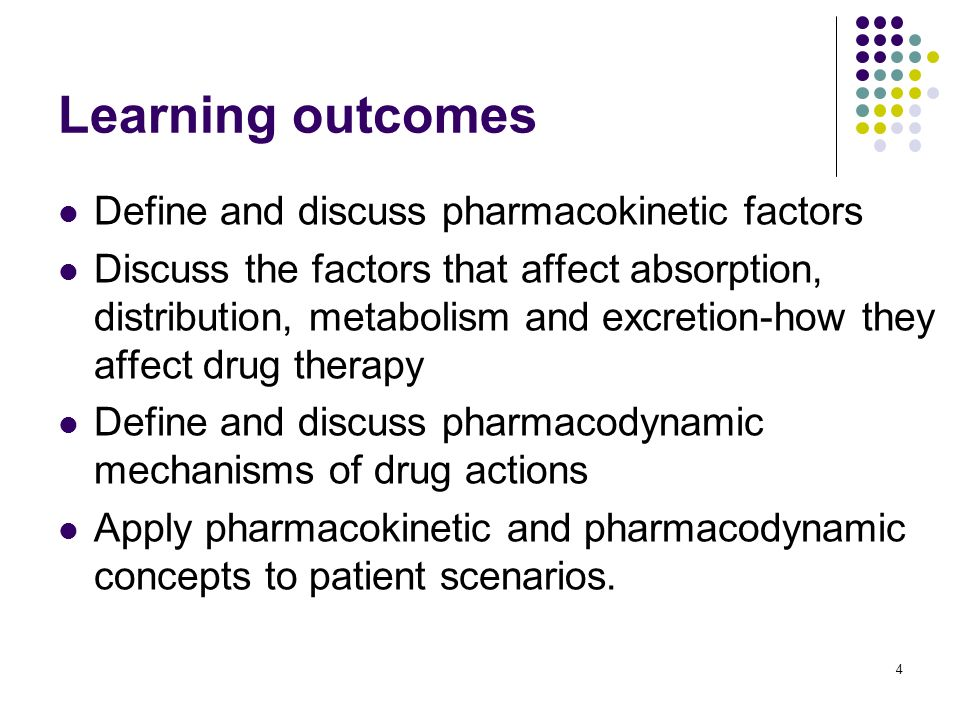 Learning outcomes Define and discuss pharmacokinetic factors