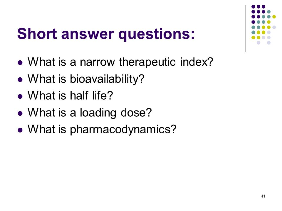 Short answer questions: