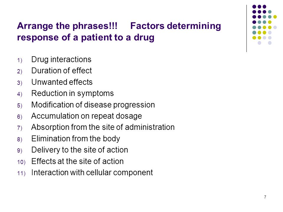 Arrange the phrases!!! Factors determining response of a patient to a drug