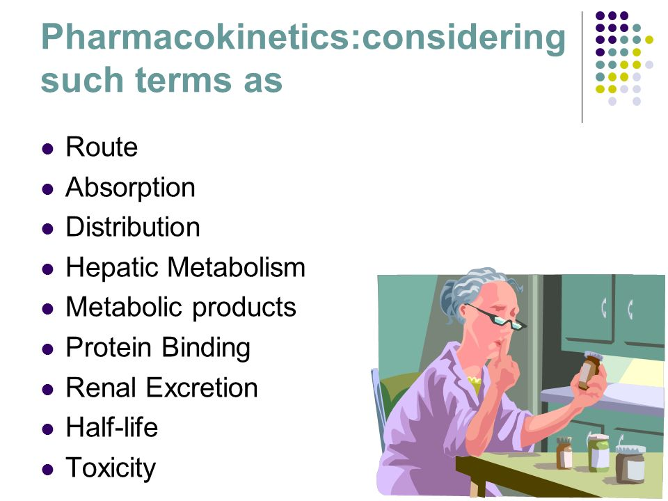 Pharmacokinetics:considering such terms as
