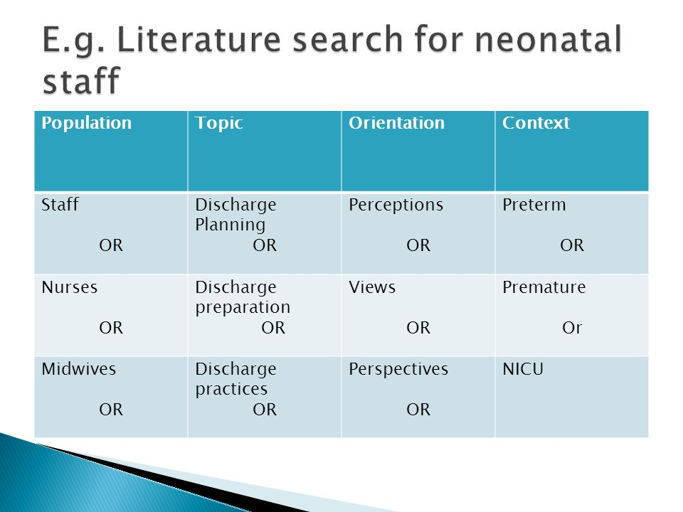 E.g. Literature search for neonatal staff