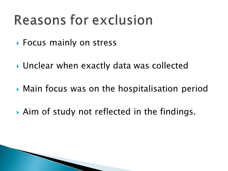 Reasons for exclusion Focus mainly on stress